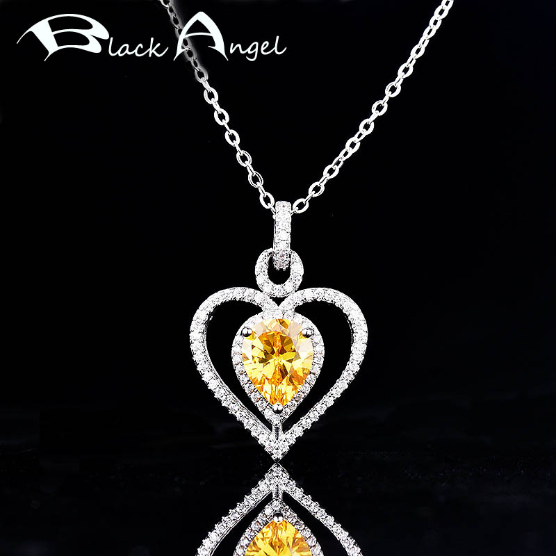 BLACK ANGEL Luxury Water Drop Shaped Citrine Necklace For Women Pink Gemstone Love Heart Pendant Jewelry Christmas Gift