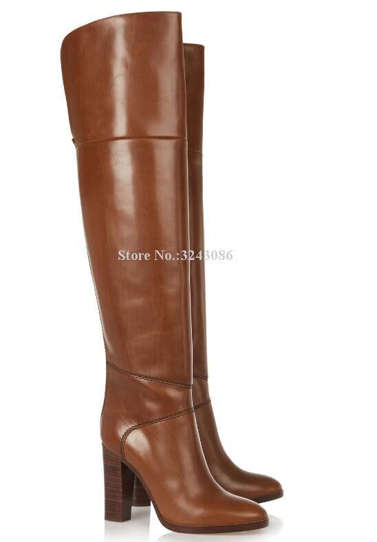 Neue Braun Leder Chunky Ferse Frauen Lange Stiefel Marke Design Große Größe Über die Knie Stiefel Promi Bankett Schuhe Dropship