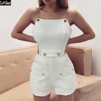 Cultiseed Women Metal Spaghetti Strap Jumpsuit Rompers Female New Fashion Sleeveless Slim Waist Short Pant Bodysuits Jumpsuits