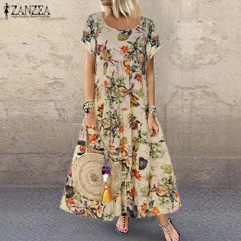 ZANZEA 2019 Summer Dress Women Vintage Floral Printed Short Sleeve Sundress Ladies Bohemian Party Long Vestido Robe Loose Dress