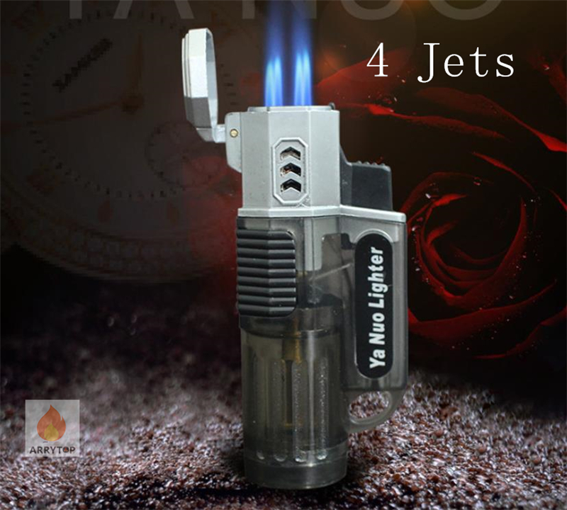 4 Jets Windproof Cigar Gas Lighter ,visible Fuel  Tank Strong Torch Flame GL014