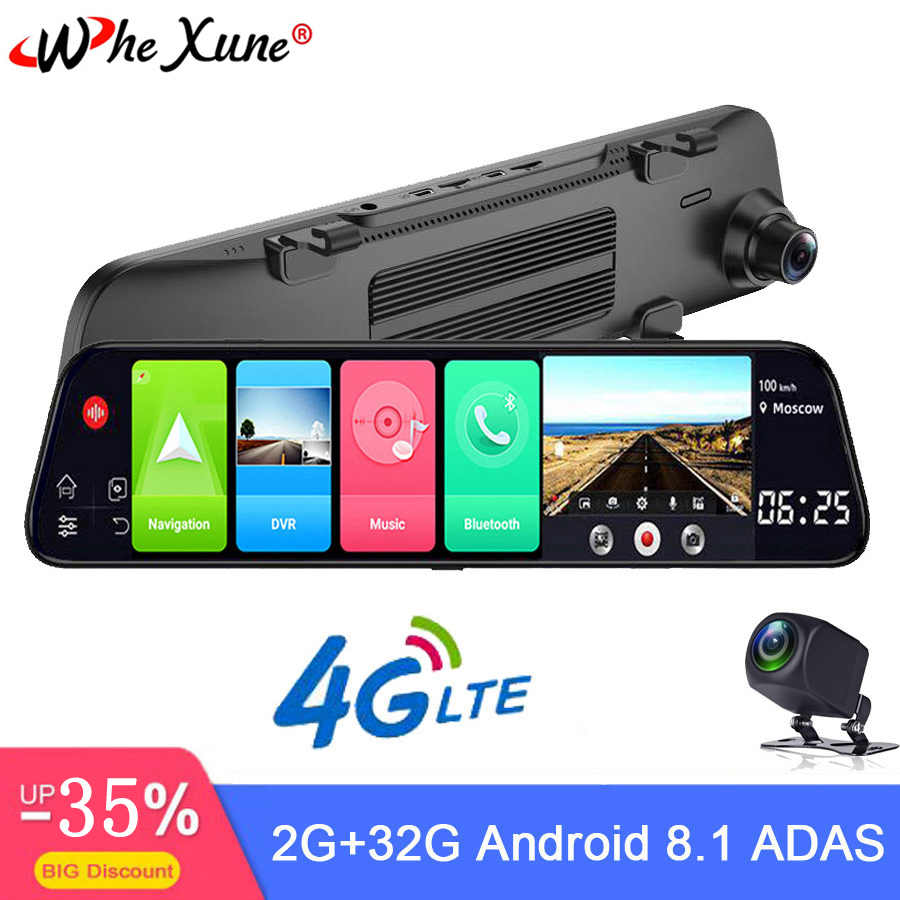 WHEXUNE New 12 Inch 4G Car DVR Android 8.1 Full HD Dual 1080P Camera Smart Rearview Mirror Navigation With Bluetooth WIFI RAM 2G