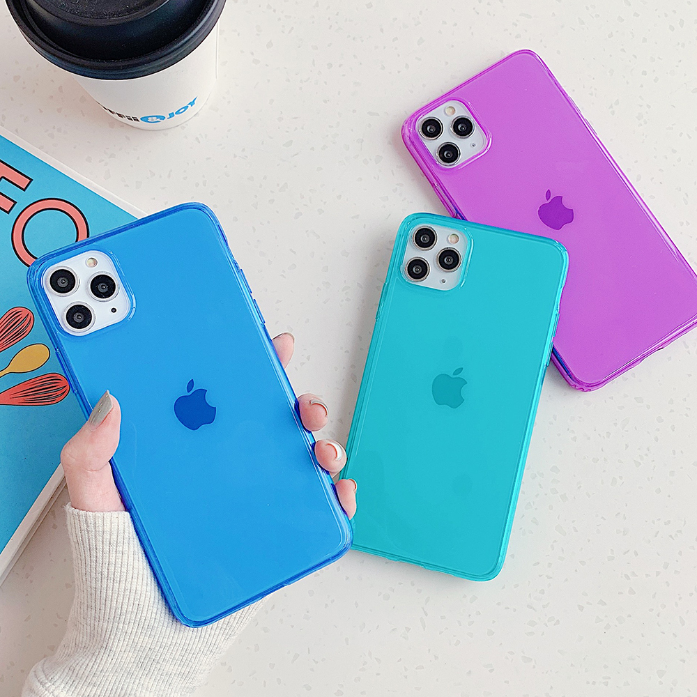 LOVECOM Florescent Solid Color Phone Case For IPhone 11 Pro Max XR XS Max 7 8 Plus X Soft IMD Cute Clear Back Cover Coque Gift