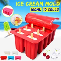 Home diy Ice Cream Mold 10 Cells Ice Cream Ice Cube Mould Maker Popsicle Yogurt Ice DIY Decoration Ice Cream Tools Cooking Tools
