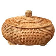 Корзина для хранения ручной работы из ротанга, плетеная с крышкой, Круглый, основной цвет, китайские ювелирные изделия, закуски, чайный набор, коробка для хранения, предметы домашнего обихода