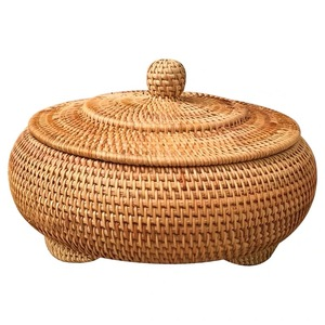 Image 1 - Storage Basket Hand woven Rattan Woven With Cover Round Primary Color Chinese Jewelry Snacks Tea set Storage Box Household Items