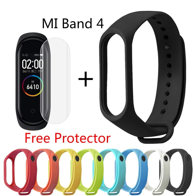 Sport Silicone Women Men Fashion MI Band 4 Strap For Xiaomi Miband 4 Bracelet + Free Watch Flim Screen Protector