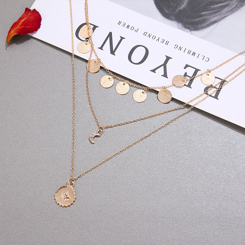 Bohemian Moon Sun CZ Pendant Necklace For Women Gold Multi Layer Pendant Sweater Chain Fashion Ladies Party Jewelry