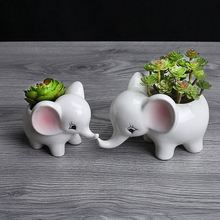 Animals Shape Ceramic Flower Pot Elephant Succulent Planter Cactus Succulent Plants Flower Cute White Pot Flower pot Large