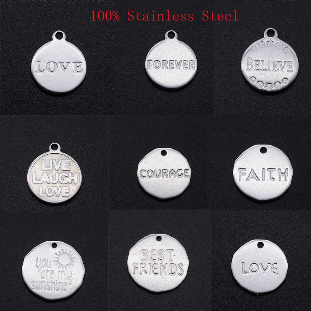 20pcs/lot 100% Stainless Steel Love Faith Believe Forever Words DIY Charm Pendant  for Jewelry Making Accessories Never Tarnish