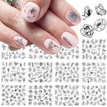 12 pc 黒花スライダー爪のための水転写ネイルステッカーデカールポリッシュラップマニキュア装飾 LABN1189-1200-1