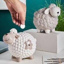Coisas para casa estatuetas de cerâmica ovelhas mealheiro para caixa de dinheiro objetos decorativos para casa ornamentos decoração do quarto