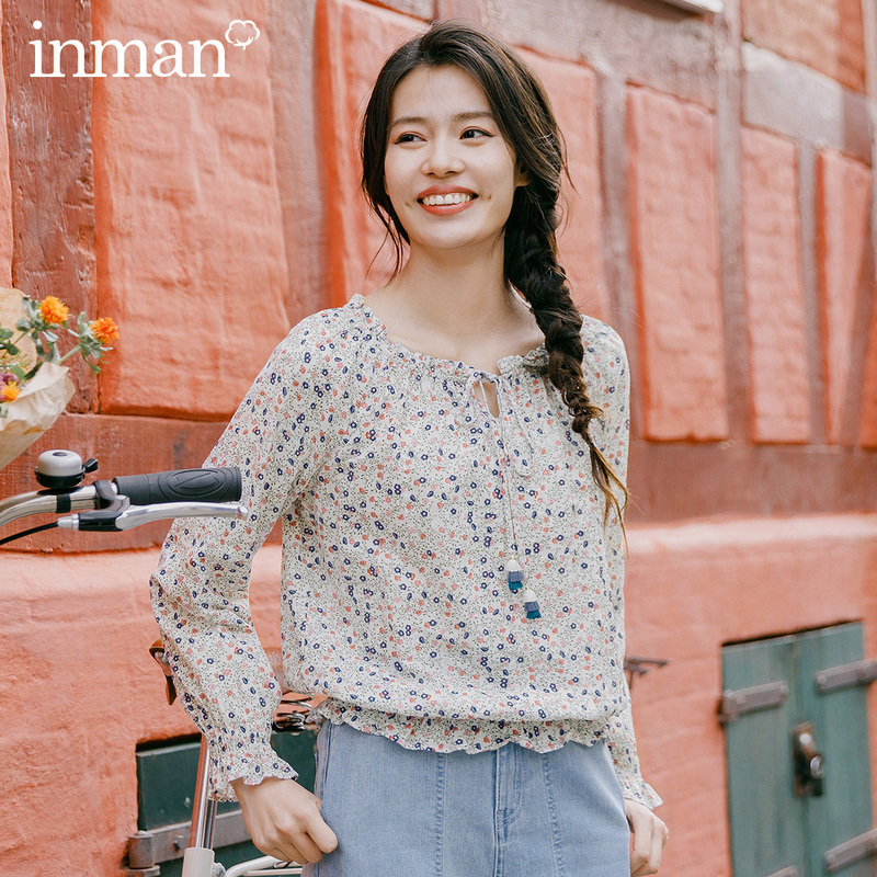 INMAN Blouse 2020 Spring New Arrival Cute Sweet Floral Flower Pattern Tie Women Elegant Blouse