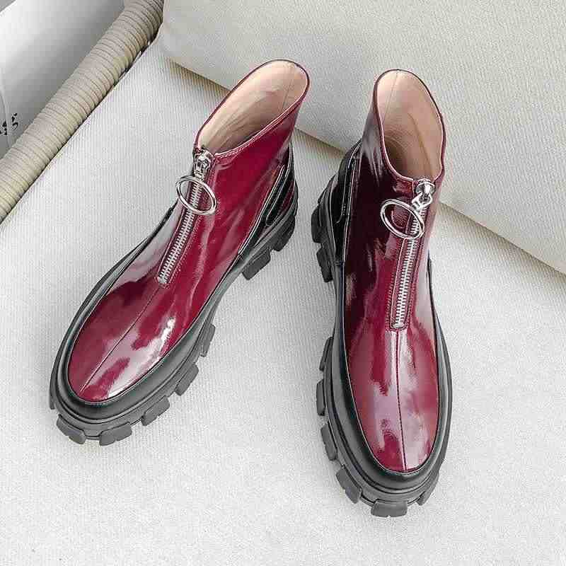 Krazing pote de doce de moda cores misturadas fundo grosso couro de vaca Zipper rocha mulheres ankle boots dedo do pé redondo inverno à prova d' água L16