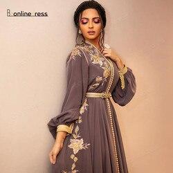 Bbonlinedress марокканское вечернее платье Caftan с вышитыми аппликациями, длинное вечернее платье с рукавом, арабские мусульманские Вечерние плать...