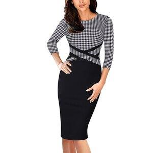 Image 3 - Vfemage vestido ajustado Vintage elegante para mujer, ropa de retazos de colores contrastantes para trabajar, fiesta de negocios, oficina, 1998