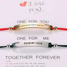 Custom women Personalized bracelet Engraving rectangle Custom Name bracelet Stainless Steel red black rope bracelet Gift 2pcs