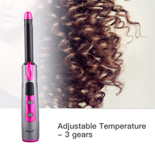 USB Rechargeable 18mm Hair Curler Ceramic Wireless Curling Iron LCD Display Curl