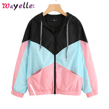 Women Jacket Hooded Sport Patchwork Coat Women Long Sleeve Zipper Womens Jackets and Coats Spring Autumn Sweetwear Women Jacket цена и фото