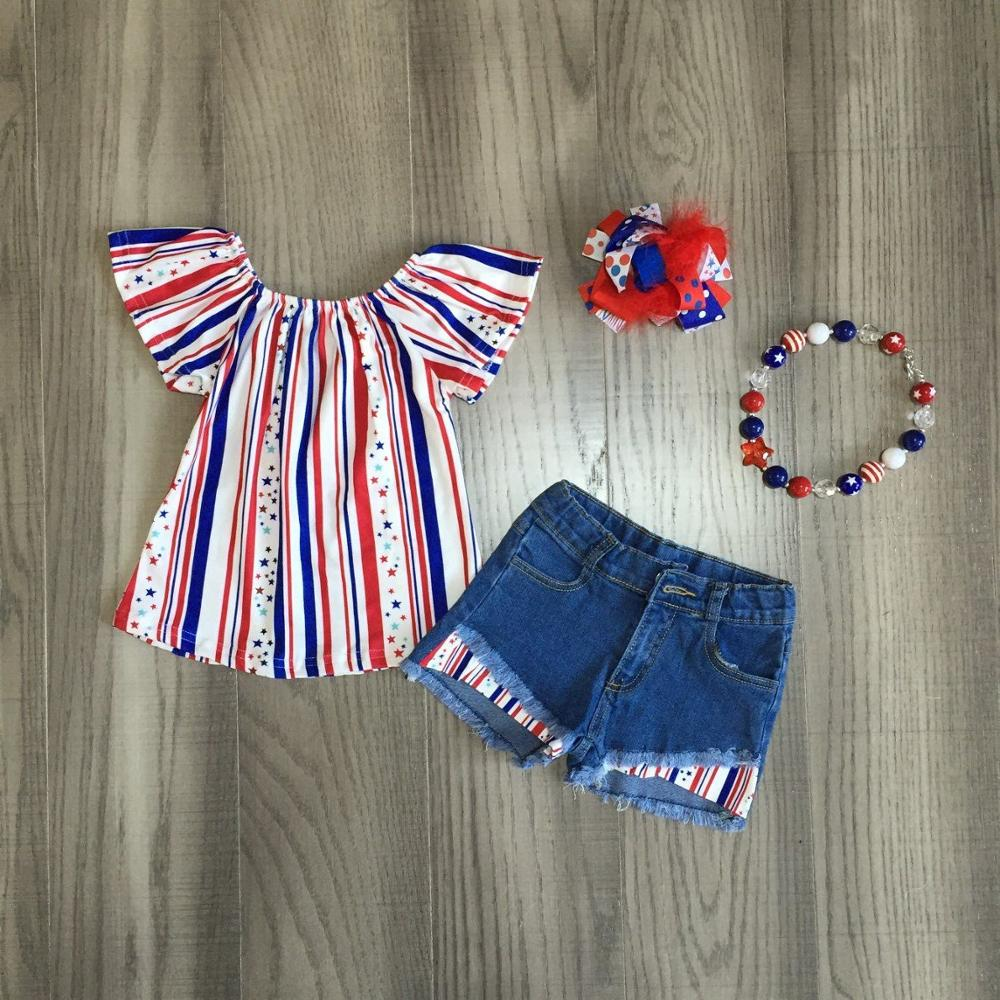 Baby Girls Summer Clothes Girls Multicolor Stripe Top Jeans Shorts Girl July 4th Outfits With Accessories