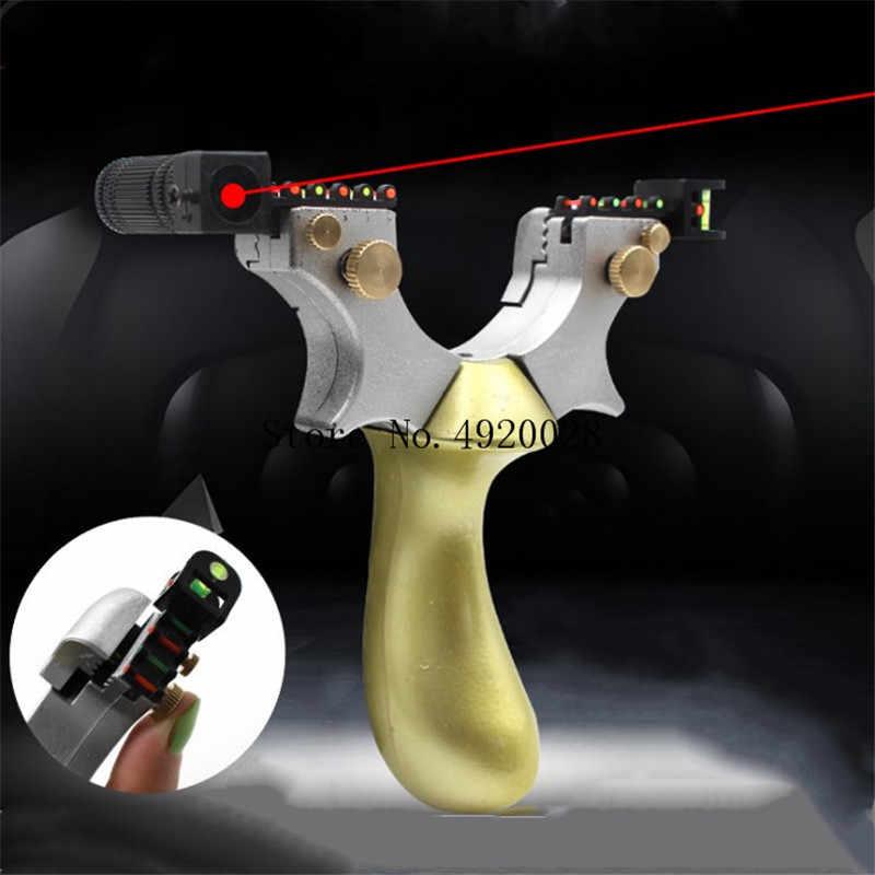 Liga de couro liso estilingue rápido pressão livre amarrado laser com mira sling caça ao ar livre jogo de tiro estilingue