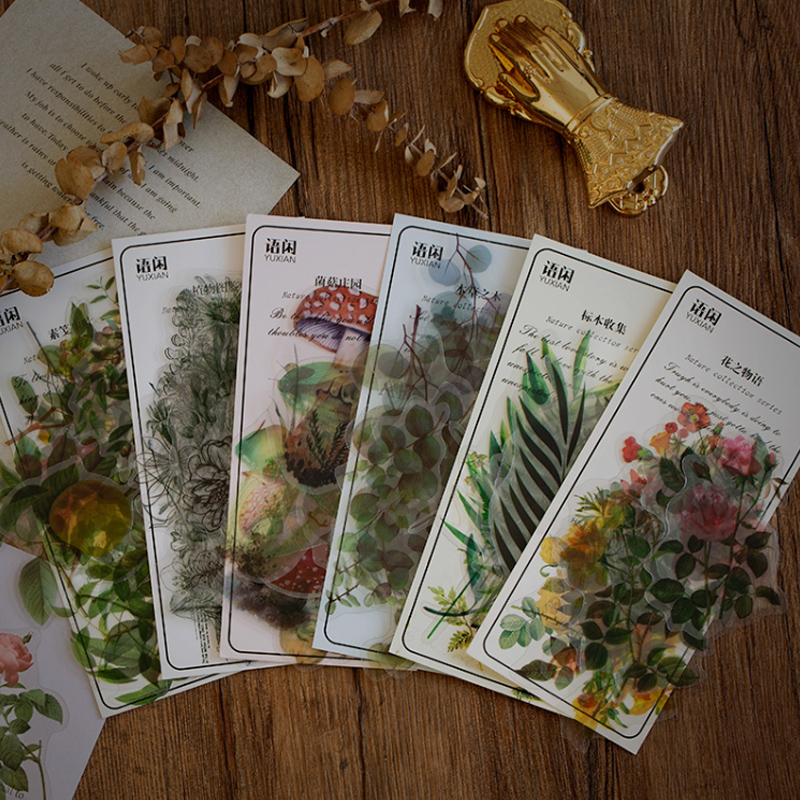 40 Pcs/Bag Natural Plant Flower Decoration Paper Sticker Decoration DIY Album Diary Scrapbooking Label Sticker