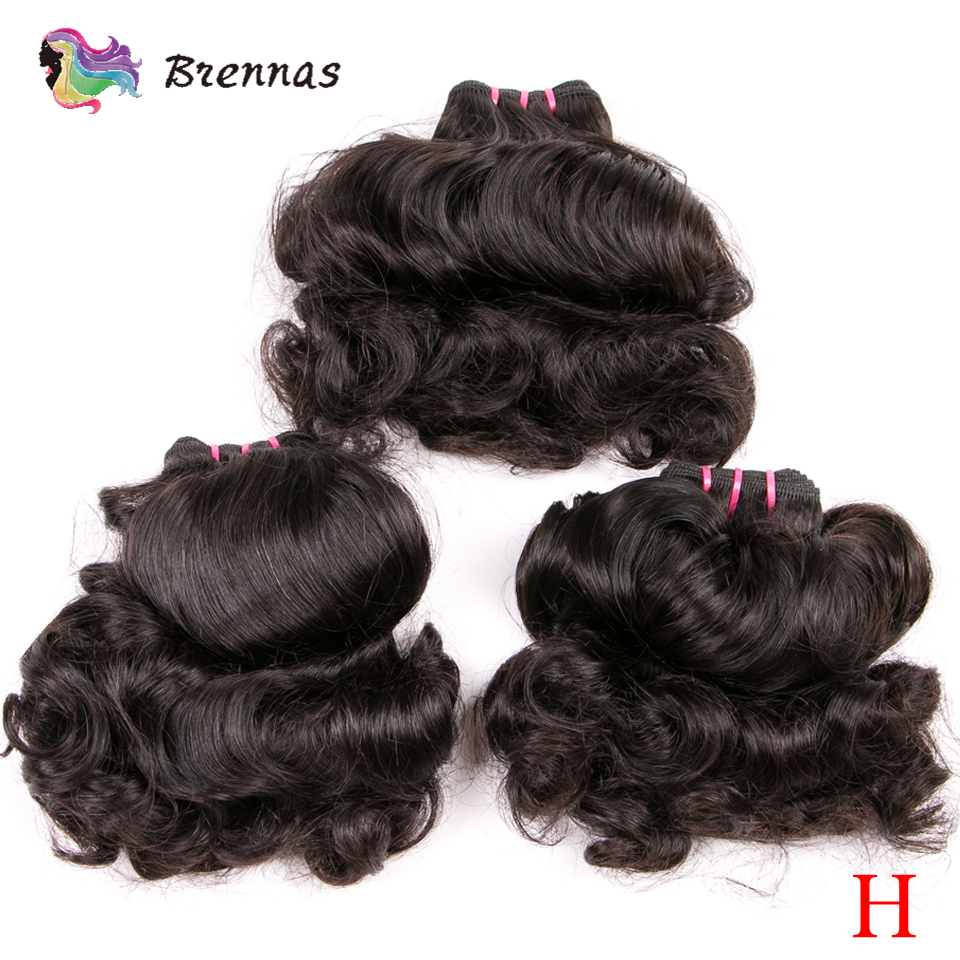 Brennas Customized Double Drawn Human Hair Bouncy Curly Hair Bundles Brazilian Funmi Non-Remy Hair Weave Extension High Ratio