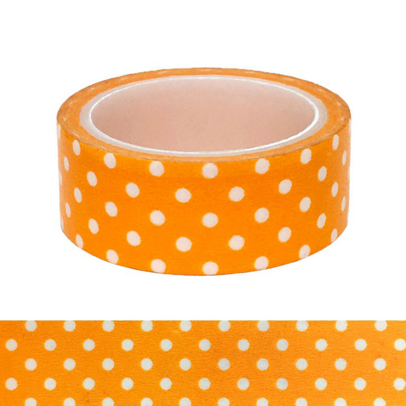 1 Pcs Kawaii Candy Orange Color Wave Point Washi Tape Pattern Masking Tape Decorative Scrapbooking DIY Office Adhesive Tape