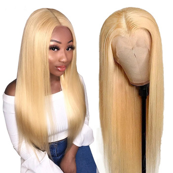 Indian Blonde 613 Lace Front Wig Straight Lace Front Human Hair Wigs 8-28 Inches Remy 150% HD Transparent Lace Frontal Wigs Wigs image