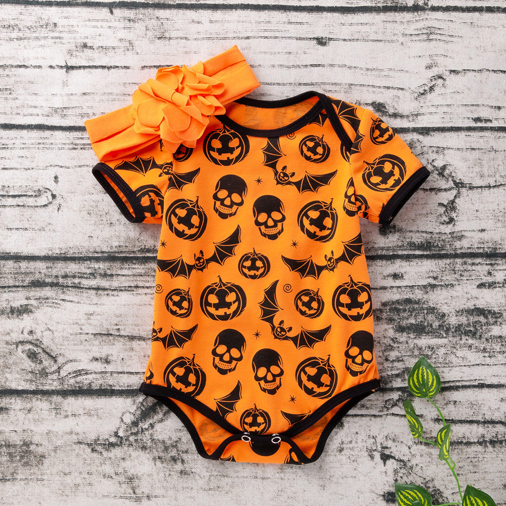Baby Bodysuit Long Sleeve Baby Body Neonato Clothes Baby Girl Onesie Funny Bodies Halloween Pumpkin Bat Skull Cartoon 0-24m Z5