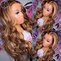 RULINDA Highlight Ombre Color Body Wave Lace Front Human Hair Wigs Brazilian Remy Hair Lace Wigs Middle Part 150 Density
