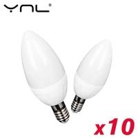 10 unids/lote E14 E27 bombilla de vela LED AC 220V lámpara led lámpara bombillas de vela 3W lámparas de luz de la decoración/caliente blanco de ahorro de energía