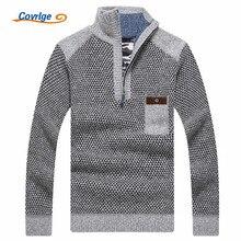 Covrlge 따뜻한 두꺼운 벨벳 캐시미어 스웨터 남자 겨울 pullovers 지퍼 만다린 칼라 남자 캐주얼 의류 큰 크기 3xl mzm046