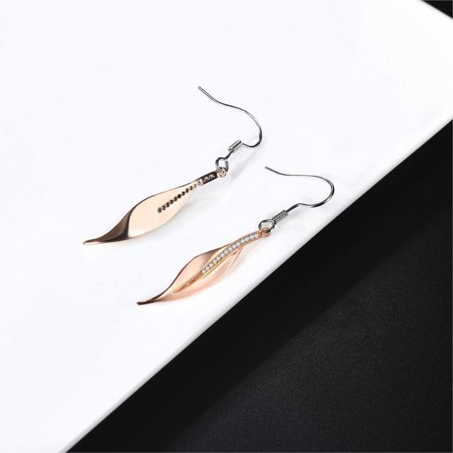 Double Fair 2018 New Fashion Fairy OL Style Rose Gold Color Leaf Drop Earrings For Women.jpg 640x640 - Double Fair 2018 New Fashion Fairy & OL Style Rose Gold Color Leaf Drop Earrings For Women With CZ Stone Charm Jewelry DFE395