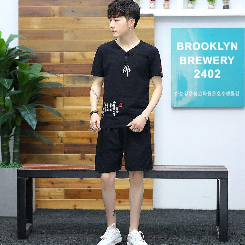 Summer Set Short Sleeve T-shirt Men's Fashion Loose Cotton Linen Buddha MEN'S Casual Shorts Two-Piece Set