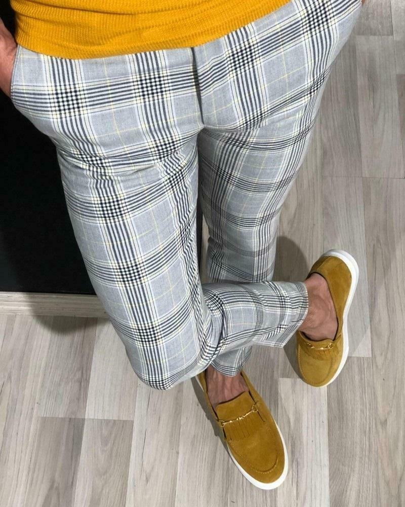 Fashion Mens Slim Fit Trousers Check Casual Pants  1