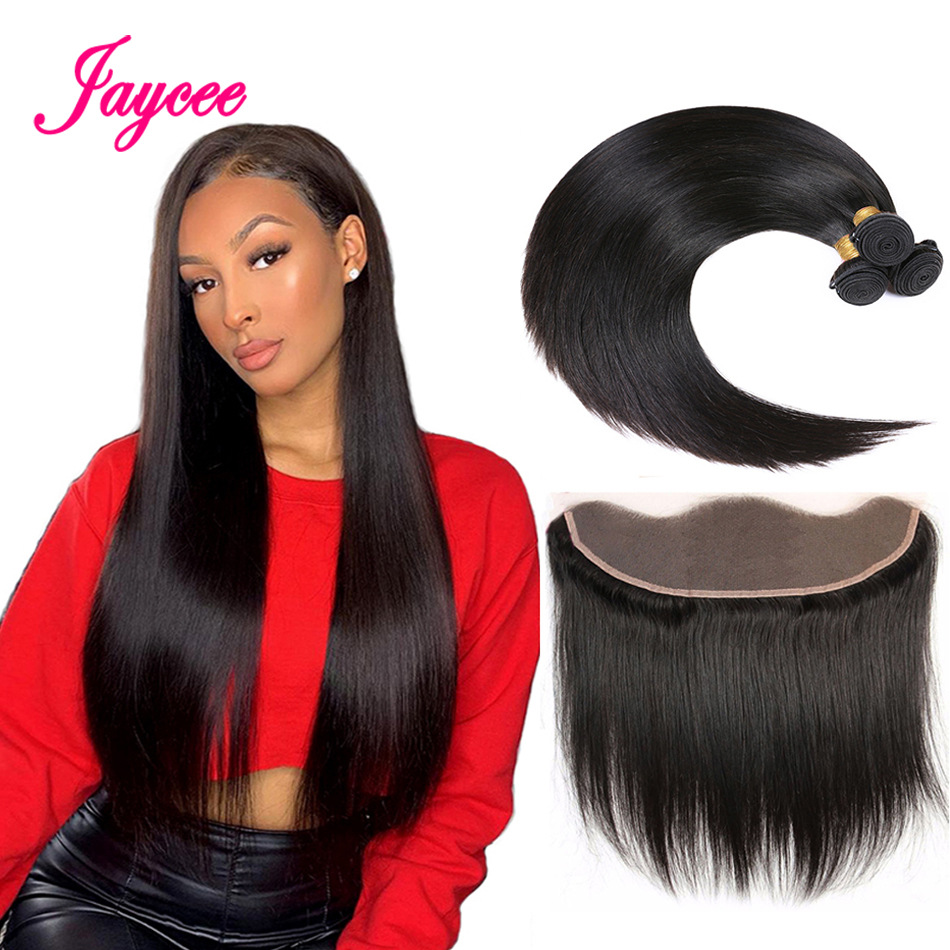 Jaycee Hair Peruvian Straight Hair With Closure 3 Bundles Remy Human Hair With 13*4 Free Part Ear To Ear Lace Frontal