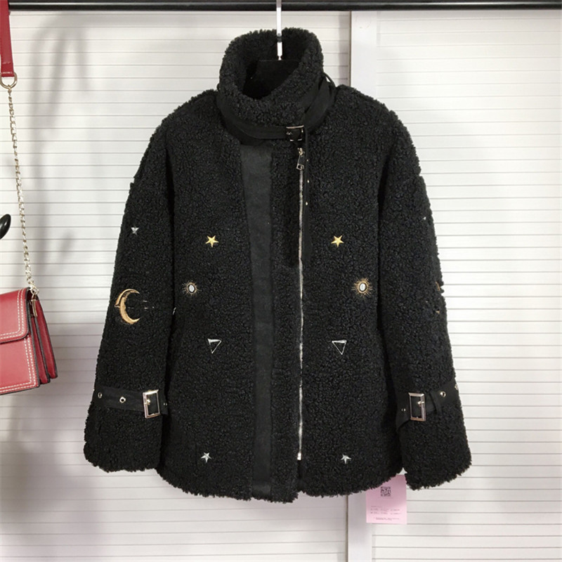 Winter Women Cartoon Coat Faux Sheepskin Female Black Coat Blends Woolen High Street Jacket For Ladies Thick Warm Fur Clothes