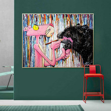 Modern Street Graffiti Art Canvas Painting on Canvas Posters and Prints Wall Art Pink Leopard Picture for Living Room Home Decor