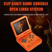 Powkiddy v90 retro console do jogo flip sistema linux handheld console with16g/2000 jogos de vídeo console para ps1 n
