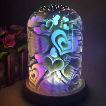 3D Illusion Night Light Oval Shaped LED Table Lamp Fireworks/Starburst/Love Heart Decorative USB Novelty
