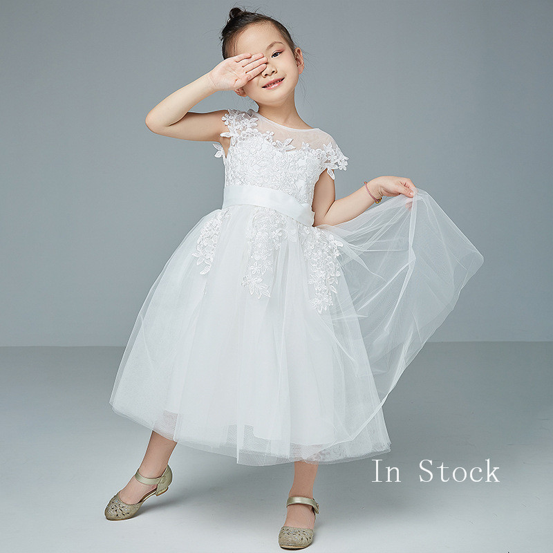 Girls Satin Flower Girl Dresses For Weddings A-Line Holy First Communion Princess Pageant Gowns