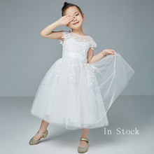 цены Girls Satin Flower Girl Dresses For Weddings A-Line Holy First Communion Dresses Princess Pageant Gowns