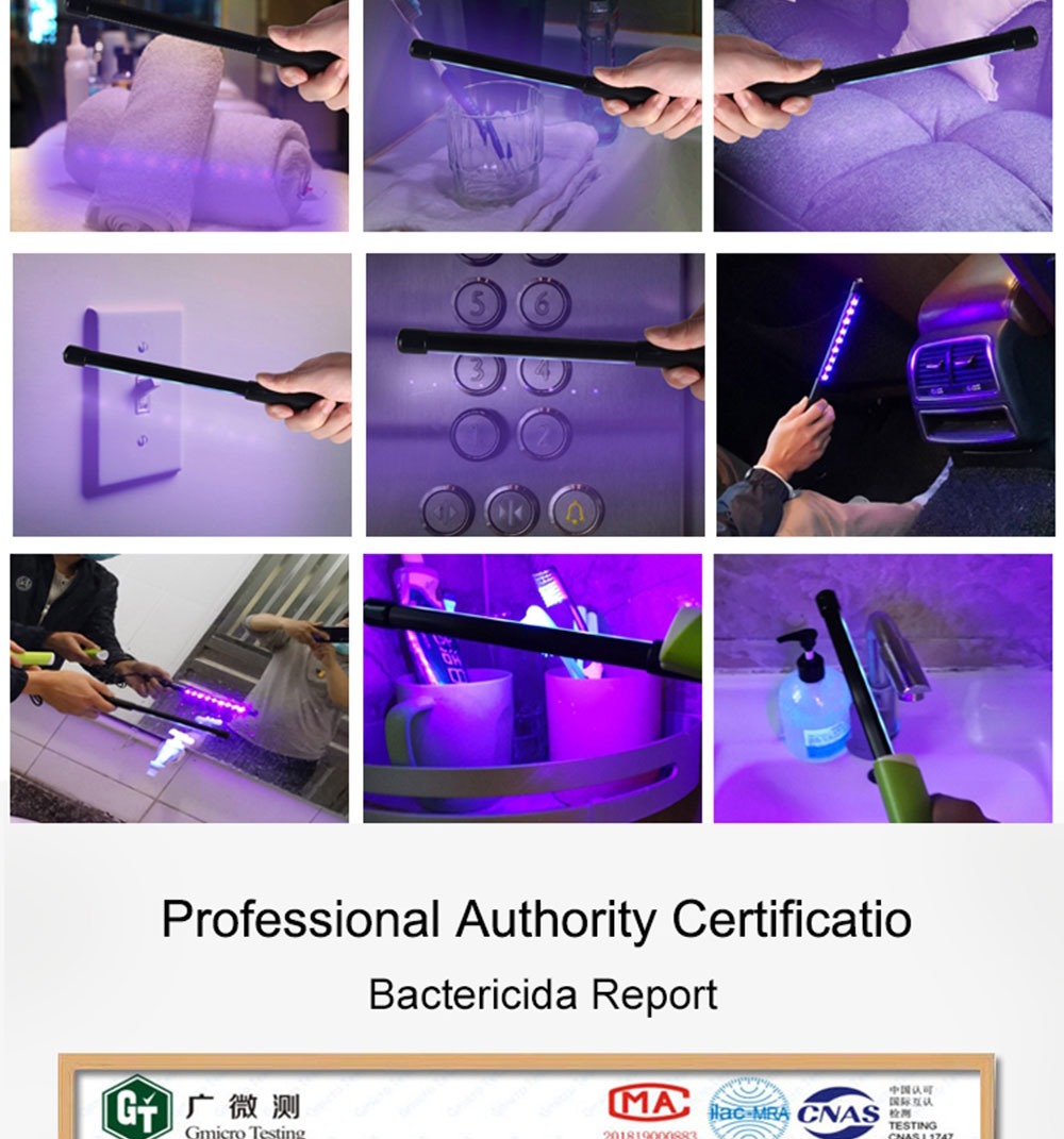 Portable Uv Disinfecting Light Sanitizing Handheld Uvc Led Sterlizer Wand Ozone Ultraviolet Uvc Germicidal Lamp Desinfection USB