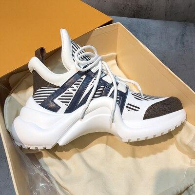 YS 920042 Platform 6CM Sneakers Geen Logo Sport Running Casual Schoenen Echte Koe Lederen Schapenvacht Binnenzool vrouwen Vulcaniseer schoenen - 5