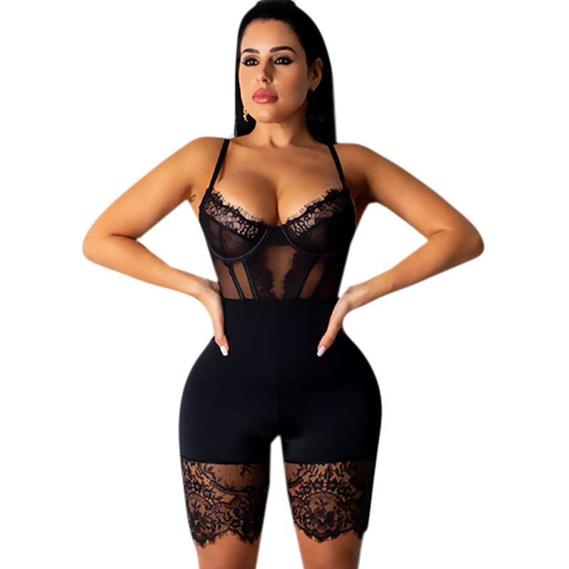 Sexy Lace Patchwork Spaghetti Strap   Jumpsuits   Women Off Shoulder Sleeveless Elegant Bodycon Bandage Club Party Short Playsuits