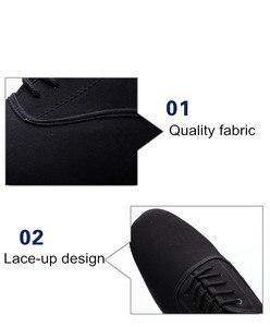 Image 5 - Zapatos de baile latino para hombre, calzado profesional de lona negra para Salsa latina, zapatos de talla grande de tacón bajo para Tango, zapatos de baile de salón