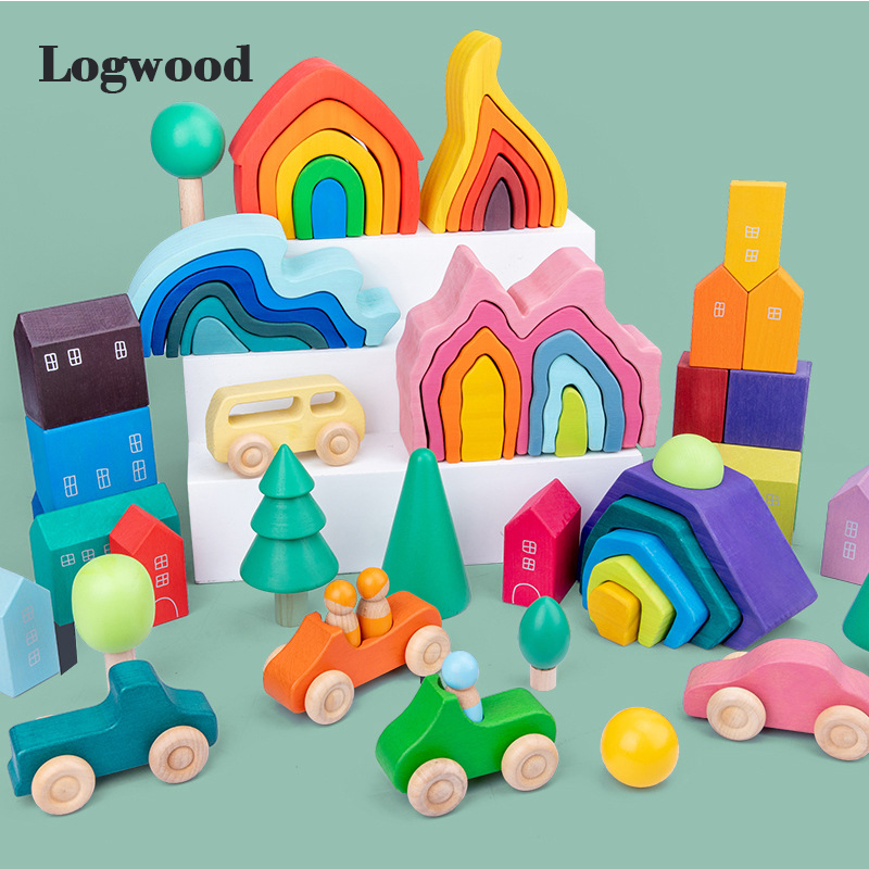 Baby toy Rainbow Stacker Educational Wooden Puzzle Shape stacking Family games Wooden toys for Children Funning Game