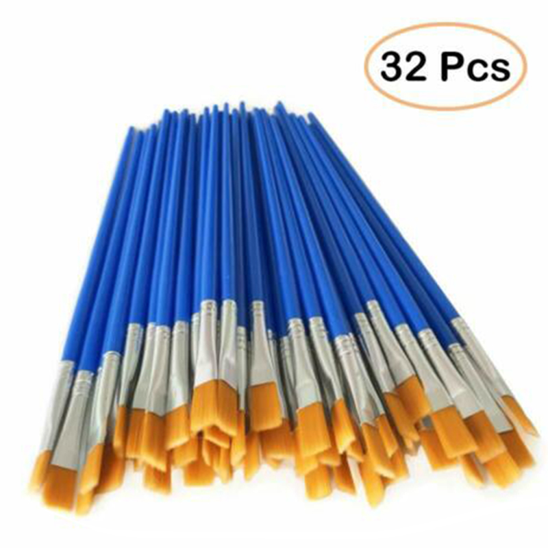 32pcs/set High Quality Nylon Hair Oil Paint Brush Set Flat Brush Acrylic DIY Drawing Pen 17cm For Artists Painters Beginners