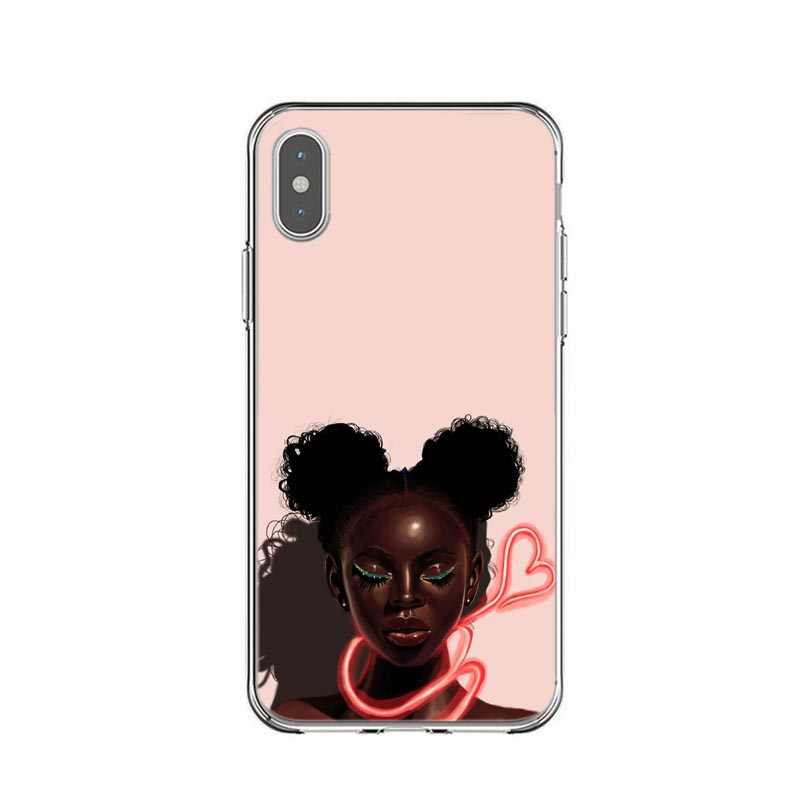 Queen Rock Afro Black Girl Magic Melanine Poppin Prinses silicone Cover Case Voor iPhone X SE 5 5s 6 6sPlus 7 8 Plus XS XR XS MAX